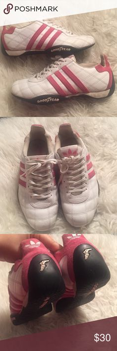 Pink/White Sz.7 Adidas Pre loved in GUC Pink/White Sz.7 Adidas Italian Goodyear shoes. Sold as is no major flaws just needs a bit cleaning up is all. Sold as is. Adidas Shoes Athletic Shoes