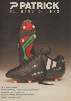 This is an original print advertisement from Product advertised: Patrick Italia Football Boots Football Kits, Football Cards, Football Players, Soccer Boots, Soccer Cleats, Italia Soccer, Brand Advertising, Everton Fc, Vintage Ads