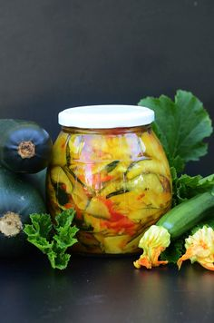 Czech Recipes, Veg Recipes, Canning Recipes, Canning Vegetables, Meals In A Jar, Vegan Kitchen, Polish Recipes, Fermented Foods, Vegetable Salad