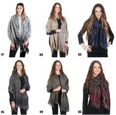 Women All Season Tartan Ombre Scarf Wrap Cape with Fring Edges Cotton Blend NWT #NorthSouthFashions #ShawlWrap