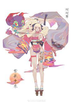 No automatic alt text available. Female Character Design, Character Concept, Character Art, Concept Art, Anime Kimono, Anime Art Girl, Anime Style, Cute Art, Anime Characters
