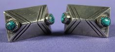 $385    Lone Mountain Turquoise Cuff Links, Jewelry by Navajo