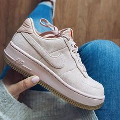 Nike Air Force 1 Upstep Suede trainers in pink. Size Depop