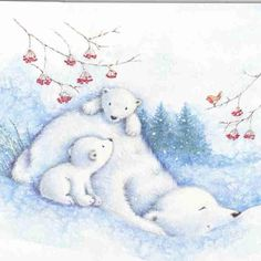 mummy Polar Bear and babies (by Tassie Scrapangel) Winter Illustration, Christmas Illustration, Children's Book Illustration, Christmas Pictures, Christmas Art, Cute Images, Cute Pictures, Animal Drawings, Cute Drawings