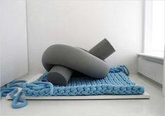 unusual floor rug in light blue color