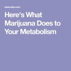 Here's What Marijuana Does to Your Metabolism