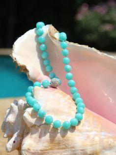 Peruvian Amazonite Necklace w Sterling di HappyGoLuckyJewels, $149.00