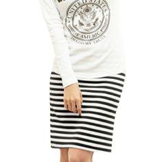 Amazon.com: Ladies Elastic Waist Black White Striped Pencil Skirt XS: Clothing