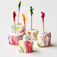 Seriously the cutest homemade marshmallows ever- Tie Dye via @EatLiveTravWrite