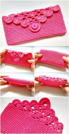 Latest And Unique Crochet Free Patterns – DIY Rustics pretty pink crochet flat pouch free pattern Crochet Clutch Bags, Crochet Wallet, Crochet Phone Cases, Crochet Purse Patterns, Crochet Handbags, Crochet Purses, Crochet Gifts, Diy Crochet, Knitting Patterns