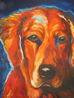 One-of-a-kind dog Paintings, Portraits, Artist Ed Hofer, Dog Breeds. Golden