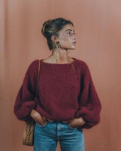 Burgundy mohair sweater, perfect for the upcoming cold days! Remember each sweta… Burgundy mohair sweater, perfect for the upcoming cold days! Remember each swetaer is handknitted so it takes a few weeks… Looks Street Style, Looks Style, Looks Cool, My Style, Winter Outfits For Teen Girls, Fall Outfits, Cute Outfits, Fall Dresses, Casual Outfits For Winter