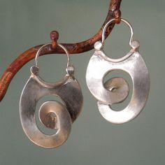 Manya Pickard Sterling Silver Curl Earrings - hoop style