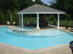 KS Pools and Patios cabana builders in Warminster, PA. For more information on custom pool cabanas in Doylestown, PA visit our site today! Gazebo Pergola, Garden Gazebo, Black Pergola, Gazebo Ideas, Pool Ideas, Patio Ideas, Pool Landscape Design, Patio Design, Pool Cost