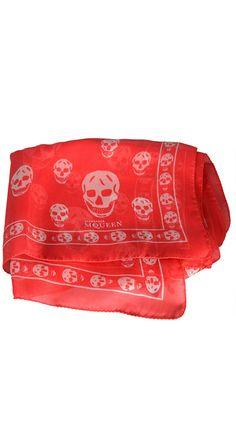 Classic Silk-Chiffon Skull Scarf #AlexanderMcQueen