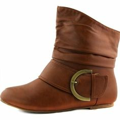 Amazon.com: Women's Ankle Booties Buckle Mid Calf Buckle Slouch Flat Heel Strap Fashion Shoes: Shoes