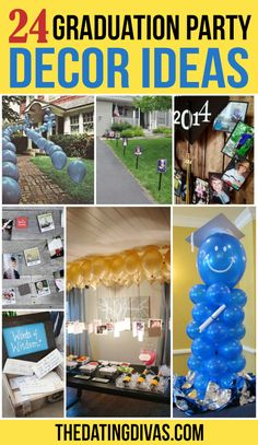 24 Graduation Party Decorating Ideas Celebrate your graduate in style! Create the most fabulous graduation party ever with this list of themes, food, decor, and graduation card box ideas! Outdoor Graduation Parties, Graduation Party Planning, Graduation Party Themes, College Graduation Parties, Graduation Balloons, Graduation Celebration, Graduation Party Decor, Graduation Gifts, Homeschool Graduation Ideas