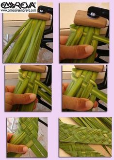 How to make braids, mats, or 6 branches and more - explanation and details from photos Ikebana, Flax Weaving, Basket Weaving, Woven Baskets, Deco Floral, Floral Design, Tahitian Costumes, Tahitian Dance, Palm Fronds