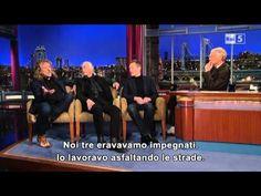 """Jimmy Page, Robert Plant e John Paul Jones ospiti del David Letterman Show per la promozione del loro ultimo disco, """"Celebration Day""""."""