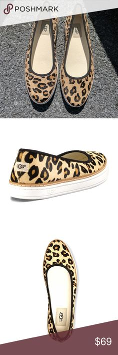 UGG Kammi Leopard print calf hair NIB  Uppers of durable leather with leopard print calf hair detailing. Allover leopard print. Textile lining for breathable wear. PORON? and foam insole for added comfort. Rubber outsole for durable wear. Logo detailing at heel. Imported. UGG Shoes Flats & Loafers