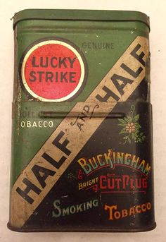 1930 Lucky Strike Half and Half Roll Cut Buckingham Collapsing Tobacco Tin  | eBay