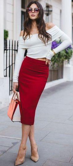 #summer #chic #feminine #style | White + Red