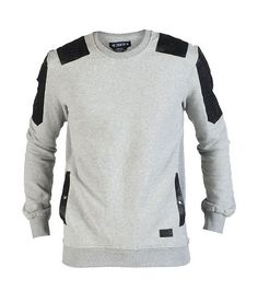 HUDSON Crew style sweatshirt Long sleeves Polyurethane detail 2 side snap pockets Soft inner fleece for ultimate comfort