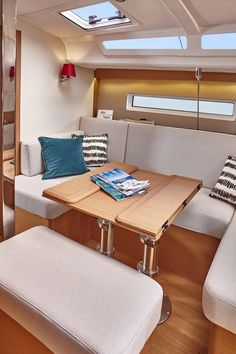 I'm a sucker for this fabulous sailboat restoration Sailboat Interior, Yacht Interior, Interior Do Barco, Sailboat Restoration, Boat Table, Luxury Sailing Yachts, Folding Boat, Boating Holidays, Yacht Boat