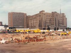 The site of the Nelson Building, with the Main Building in the background (notice the lattice mast on the roof, used by the Aston University Radio Society). This photograph probably dates from the late 1970s, as the Nelson Building was completed in 1978.