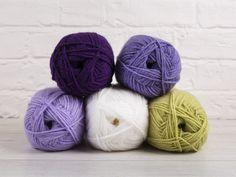 Stylecraft Special DK yarn White, Pistachio, Wisteria, Emperor, Violet
