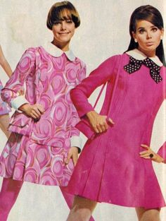 60sfashionandbeauty:  Colleen Corby modeling a pink dress for Simplicity, March 1968. (♥)  Does anyone else think the other model looks like Lucy Angle?
