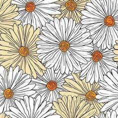 Camomiles Seamless Background #GraphicRiver Camomiles seamless background for…