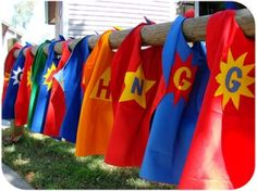 Superhero party theme: As each party guest arrives, present them with their own personalized superhero cape. Divide children into two teams for an Emergency Drill. Have an entertainer or a family member lead the kids through a mini superhero boot camp training to get them into the spirit of the party - Linda Kaye's Partymakers