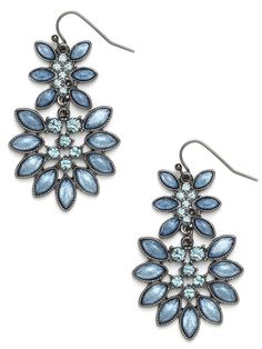 We love the pale periwinkle shades of these striking drop earrings. Combine that with the all-around feminine allure—floral motif; glittering gems—and you've got our new must-have accoutrement.