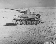 An abandoned Marder 3 tank destroyer with it's 76.2-mm PaK 36 gun left in the North African desert - pin by Paolo Marzioli