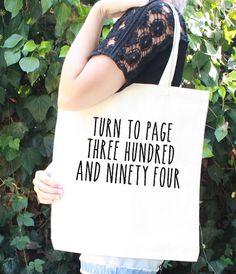 Harry Potter Tote Bag  natural tote and black letters (like above) - Severus Snape - Turn to Page 394 - Alan Rickman - Hogwarts - Book Bag
