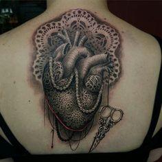 Lace Heart tattoo by @travisgreenough at @closedcaskettattoos in Ajax, Ontario #travisgreenough #closedcasket #closedcaskettattoos #ajax #ontario #canada #hearttattoo #lacetattoo #laceheart #tattoo #tattoos #tattoosnob