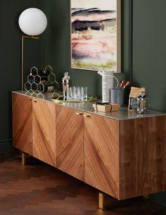 35 Ideas home bar furniture design products Sideboard Dekor, Dining Room Sideboard, Modern Sideboard, Credenza, Living Room Sideboard Ideas, Retro Sideboard, Walnut Sideboard, Sideboard Buffet, Home Bar Furniture