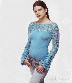 116 pics of SPECTACULAR TOPS. w/ diagrams & instructions in Russian! Knit top, crocheted yoke/collar and sleeves crochet, website has a TON of patterns/diagrams! Could use the lacy part just for a half shrug of sorts. I like the idea as a whole and it wou Mode Crochet, Crochet Yoke, Crochet Fabric, Crochet Jacket, Crochet Cardigan, Crochet Stitches, Crochet Shirt, Crochet Designs, Crochet Patterns