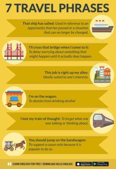 7 Travel Phrases:  1. I lost my train of thought: to forget what one was talking or thinking about. 脑子一片空白 E.g. Excuse me, I lost my train of thought.  2. That ship has sailed: used in reference to an opportunity that has passed or a situation that can no longer be changed.错失机会或情况难以改变 E.g. We're good friends but I don't think we'll ever be anything more to each other—that ship has sailed.  3. I'll cross that bridge when I come to it:  to delay worrying about something that might happen until…