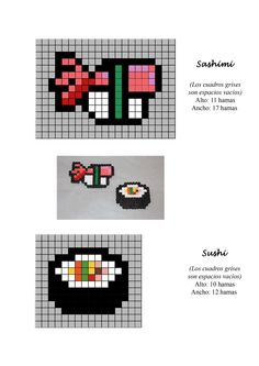 Sashimi sushi hama beads pattern - would make adorable fridge magnets or keychains!