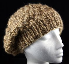 Hand knitted soft and warm large woollen slouchy hat / beret in 'Beech'. Handknit hat. Knit hat. Wool hat