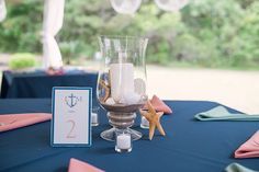 Hurricane Vase & Seashells / Handmade Table Numbers / candescentoccasions.bc@gmail.com