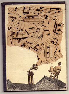 Canción Rota This is another great work by Federico Hurtado which shows a traditional method of creating an image collage. You can buy the print here: Art Du Collage, Music Collage, Image Collage, Music Artwork, Music Painting, Sheet Music Art, Music Sheets, Art Of Music, Music Flow