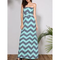 Bohemian Style Strapless Sleeveless Striped Women's Dress $21.16