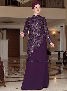 Purple - Fully Lined - Crew neck - Muslim Plus Size Evening Dress Abaya Fashion, Muslim Fashion, Fashion Dresses, Hijab Evening Dress, Evening Gowns, Modest Dresses, Simple Dresses, Hijabi Gowns, Moda Emo