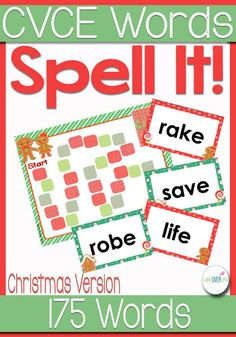 This CVCE word file folder game from Life Over C's is a fun way to learn about magic 'e' words. This printable is Christmas themed so it is perfect to use during the holiday season! Make learning fun by teaching your kids their CVCE words with a fun holiday printable worksheet!! #holiday #christmas #games #kids #learn