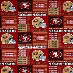 NFL Football San Francisco 49ers Squares Cotton Fabric