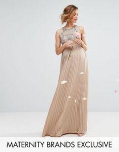 Maya Maternity Embellished Bodice Maxi Dress With Pleated Skirt