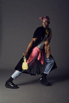 Fruit is the new Black Photographers: Pierre & Florent Model: Yannick@Rockmen MUAH: Eden Tonda DA: Madi Derivery, Aliénor Fontaine Débardeur, Jean, K-Way: Vintage chez Espace Kiliwatch Trench: David Berod Creepers: Tuk foulard: Rue du Dragon Necklaces: Stradivarius, H&M